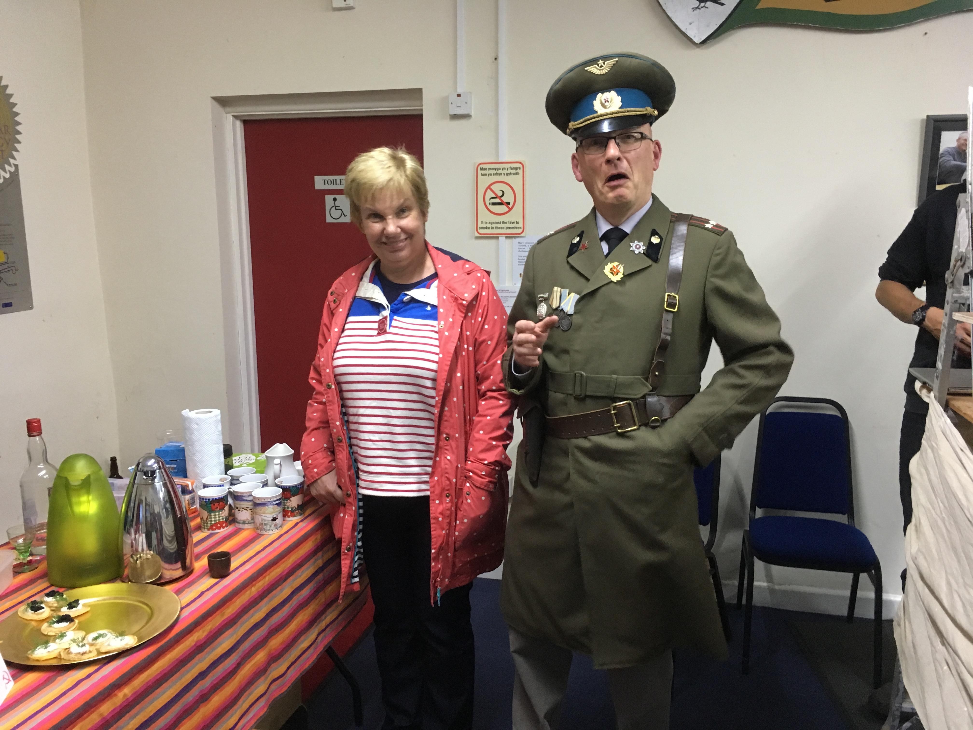 Owen dressed up for Sinema Sadwrn's Death of Stalin