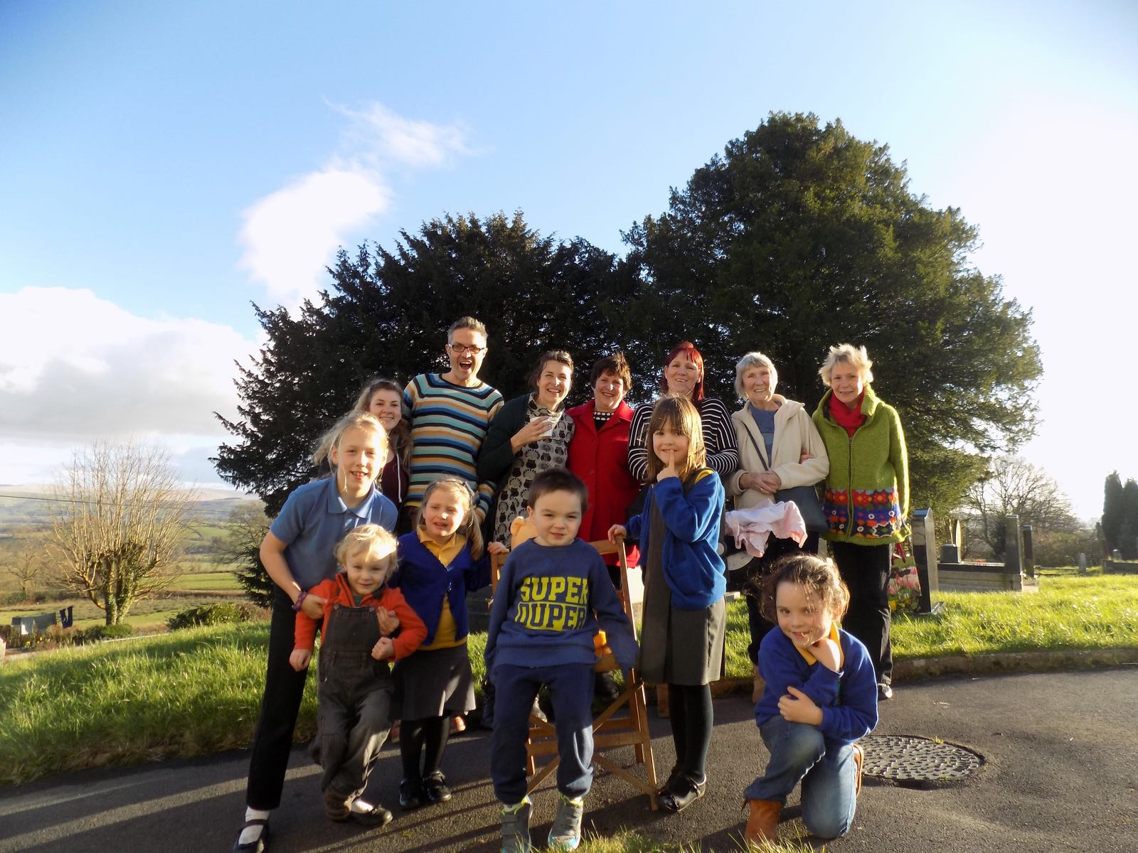 The Vestry Venture group outside in sunny Llansadwrn