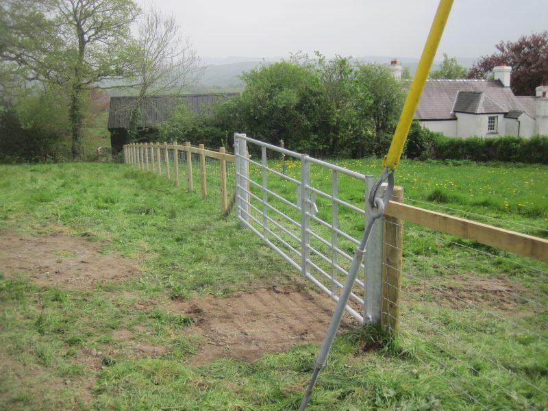 Fencing in at Gardd Gymunedol Llansadwrn Community Garden