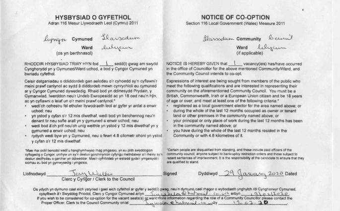 Notice of cooption for Llansadwrn Community Council