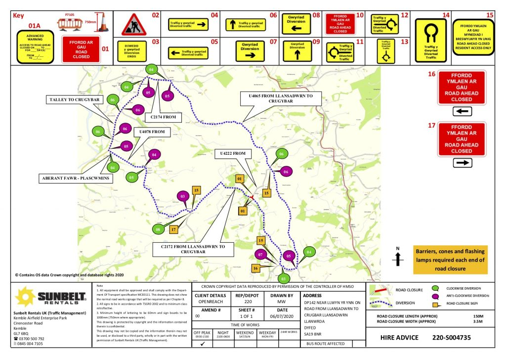 Alternative route for road closure